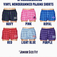VINYL Monogrammed Plaid Pajama Boxer Shorts- JUNIOR FIT