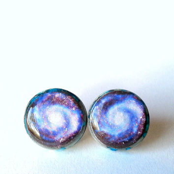 Galaxy Studs, Galaxy Earrings, Sci Fi Space Studs, Space Earrings, Celestial Jewelry,Outer Space Earrings, Resin Galaxy Studs, Glitter Studs
