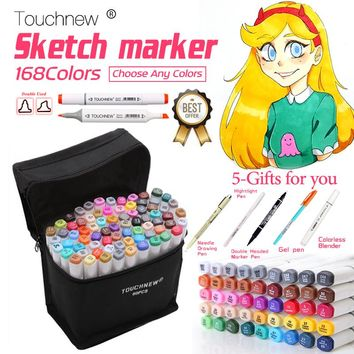 TOUCHNEW 30/40/60/80 Colors Copic Sketch Markers Pen Alcohol Based Pen Marker Set Best For Drawing Manga Design Art Supplies