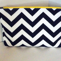 Diaper Clutch with Zipper and Pockets - Navy and White Chevron - Nappy Clutch - Diaper Bag Accessory - Navy Flamingo Print