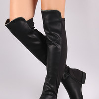 Beaded Trim Vegan Leather Over-The-Knee Riding Boot | UrbanOG