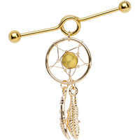 Gorgeous in Gold Divine Dreamcatcher Dangle Coil Industrial Barbell | Body Candy Body Jewelry