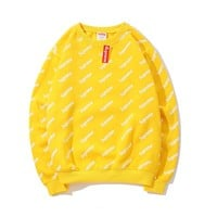 Supreme autumn and winter new full-fashioned printed plus velvet long-sleeved round neck sweater