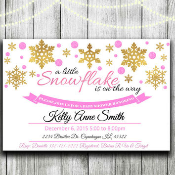 Winter Baby Shower Invitation Snowflake on the Way Gold foil  Winter Baby Shower Invite Girl, Boy or Gender Neutral Shower Printable