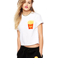 Chips Print T-shirt in White