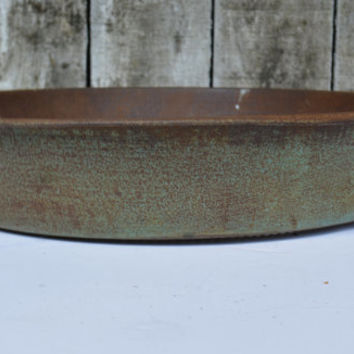 Antique Metal Staining Pan -  Colander Pan  - Early 1900s Strainer  - Vintage Metal Ware -  Farmhouse  -  Rustic Kitchen -  Primitive Green