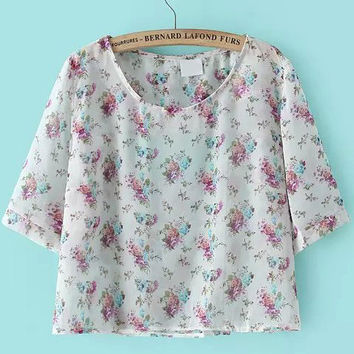 White Short Sleeve Floral Cropped Chiffon Blouse