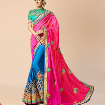Blue And Hot Pink Art Silk Designer Half N Half Saree