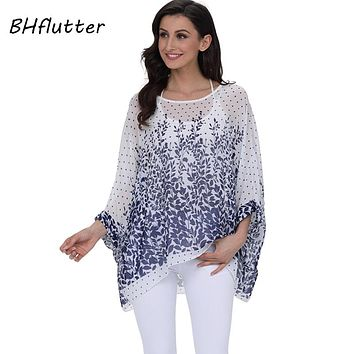 BHflutter 2018 Women Tops and Blouses Plus Size Floral Print Casual Chiffon Blouse Boho Style Batwing Sleeve Summer Shirt Blusas