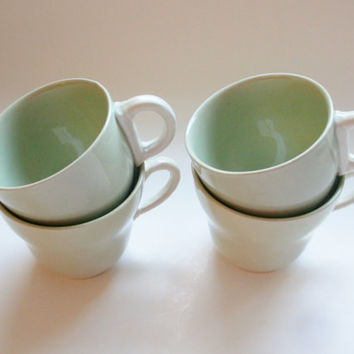 Grindley England Pale Sage Mint Green White Handle Tea Cups