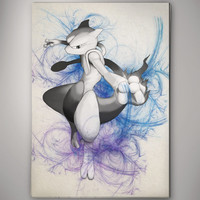 Mewtwo Pokemon  Anime Manga Watercolor Print Poster  No145