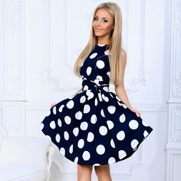 Retro Pin up polka dot tie cocktail dress