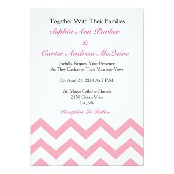 Pink and White Chevron Stripes Wedding Invitation