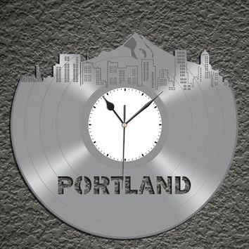 Vintage Wall Clock - Portland Skyline Clock, Vinyl Cityscape Clock, Wall Art Clock,  Modern Wall Clock,  Large Wall Clock, Travel Gift