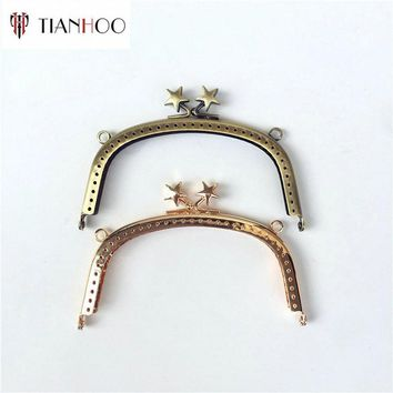 TIANHOO 10pcs 12.5cm Metal Purse Frame Handle Kiss Clasp Lock for Bags DIY Sewing Bag Parts Accessories Bronze Handbag Hardware