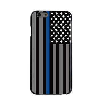 DistinctInk® Hard Plastic Snap-On Case for Apple iPhone - Thin Blue Line US Flag Law Enforcement