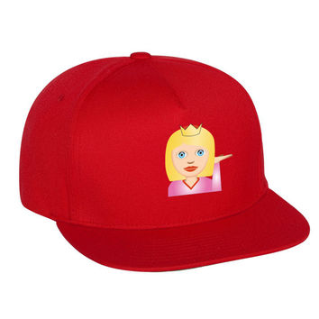 Emoji Princess Emoticon Single Color Flat Bill Cap
