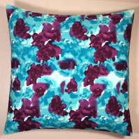 Handmade Pillow Cover - Multi Color, Purple, Teal & White Linen Mix with Purple Twill Envelope Back - READY TO SHIP!