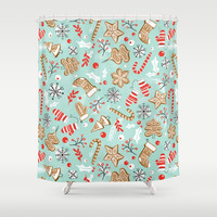 Gingerbread Dreams - Aqua Shower Curtain by heatherduttonhangtightstudio