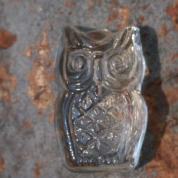 Vintage Crystal Art Glass Owl Paperweight Sculpture Figurine Animal