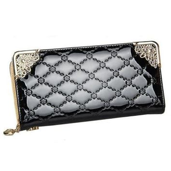 Luxury Vintage Brand Long Patent Leather Plaid Ladies Phone Purse Coin Credit Card Holder Cuzdan