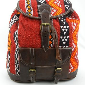 Wool Kilim and Dark Brown Leather Backpack