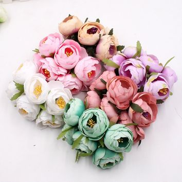 6pcs Silk Rose Flowers Bride Bouquet for Wedding Party Flores Home Hats Decoration Marriage Wreath Plants Flowers