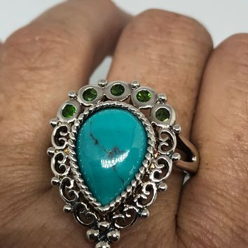 Vintage 1970's Turquoise Gemstone 925 Sterling Silver Celtic Ring