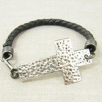 Mens Leather Bracelet, Mens Cross Bracelet, Black Leather Bracelet, Braided Leather Sideways Cross