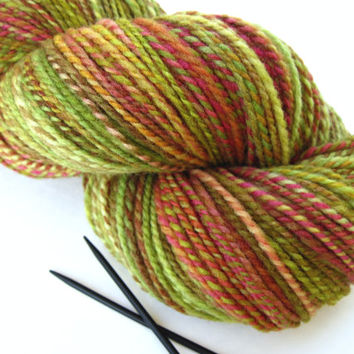 hand spun yarn, handspun yarn, hand dyed yarn, hand painted yarn, handpainted yarn, kettle dyed yarn, wool, 2 ply, green berry rose, worsted