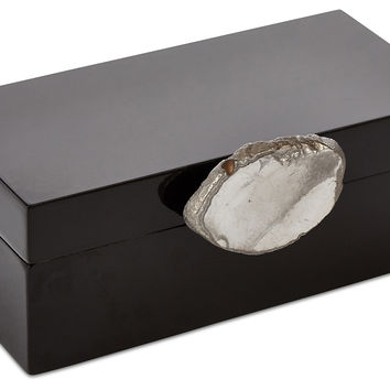 Black Box w/ Gilded Agate Knob, Medium, Boxes