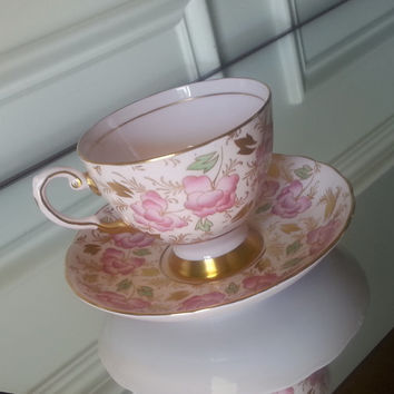 Antique Tuscan hand painted pink floral tea set, English tea cup and saucer, pink and gold china wedding gift