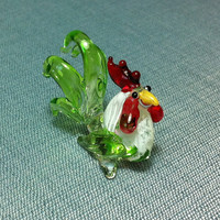 Hand Blown Glass Rooster Hen Chicken Animal Cute Yellow Green White Red Figurine Statue Decoration Collectible Small Craft Hand Painted Bird