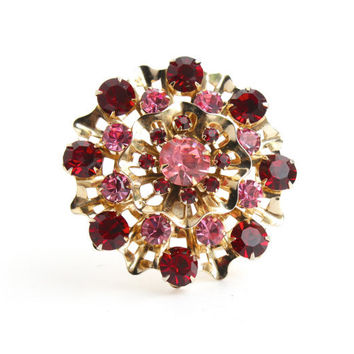 Vintage Rhinestone Brooch - Pink and Maroon Glass Mid Century Gold Tone Costume Jewelry Pin / Large Starburst