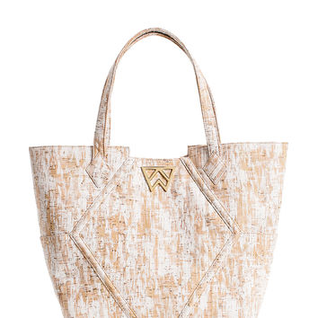 Paint the Town Tote in White Brushed Cork