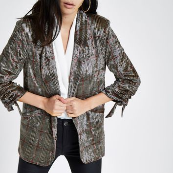 Brown velvet check ruched sleeve blazer - Blazers - Coats & Jackets - women