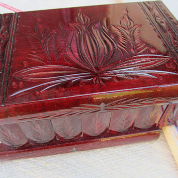 Hungarian Puzzle Box Safe Bank Secret Hidden Stash Jewelry Gift - Cherry Red