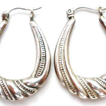 Sterling Silver Oval Hoop Earrings Vintage