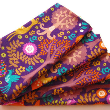 Cloth Napkins - Sets of 4 - Purple Woodland Deer Birds Trees - Dinner, Table, Everyday, Wedding