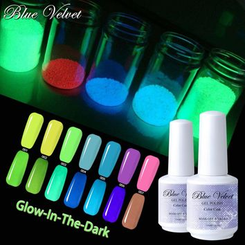 Blue Velvet Fluorescent Luminous Nail Gel Polish UV LED Gel Soak Off 15ml Night Glow In Dark Lacquer Varnish Manicure Nail Art