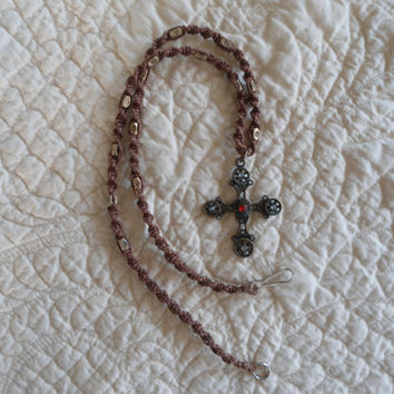 Dark Brown Hemp Necklace Antiqued Brass Cross Tibetan Morocan Cross Hippie Jewelry Hippie Necklace Religious Jewelry