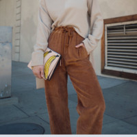 New corduroy drawstring high-waisted slacks with straight leg