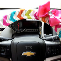 Steering Wheel Cover in Multi Color Chevron with Bow