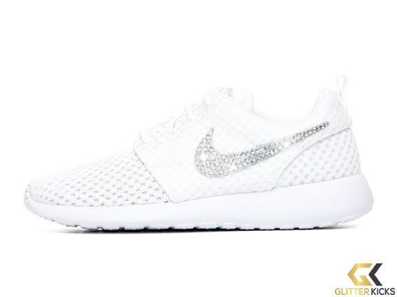 Nike Roshe One + Crystals - White from Glitter Kicks f7d23e638