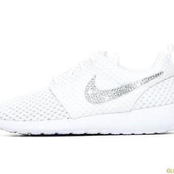 Nike Roshe One + Crystals - White from Glitter Kicks 58e21fe888