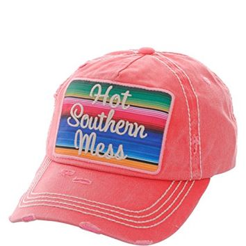 Hot Southern Mess Fuchsia Patch Adjustable Baseball Cap KBV1070(FU)