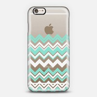 Mint White Chevron Transparent iPhone 6 case by Organic Saturation | Casetify