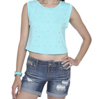 Heart Studded Crop Tee | Shop Tops at Wet Seal