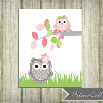 Nursery Wall Art Print / 8x10 inch / owl theme / wall art / pink and gray / for baby girl / girl's bedroom decor / owls