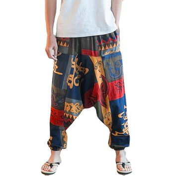 Unisex Loose Drop Crotch Floral Joggers Aladdin Harem Trousers Pants pantalon Harem Pants With Drawstring Casual Loose Plus Size